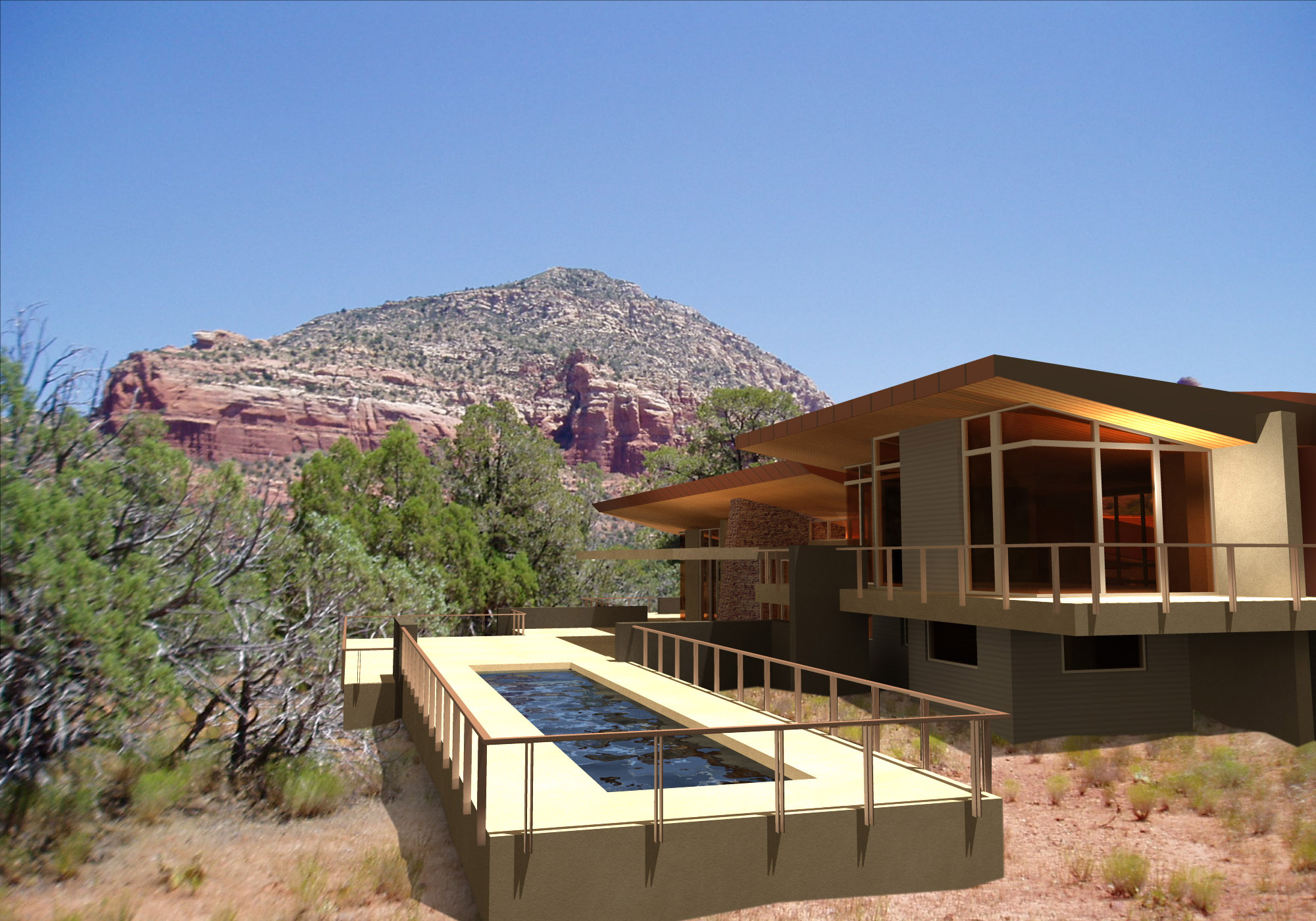 Life in 3d modern mountain home designs phx architecture for Sedona architects